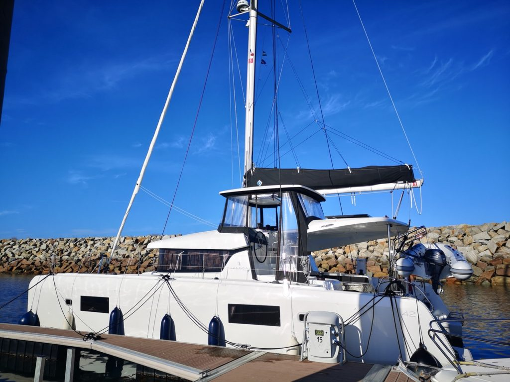Our berth in the marina of Roscoff, France
