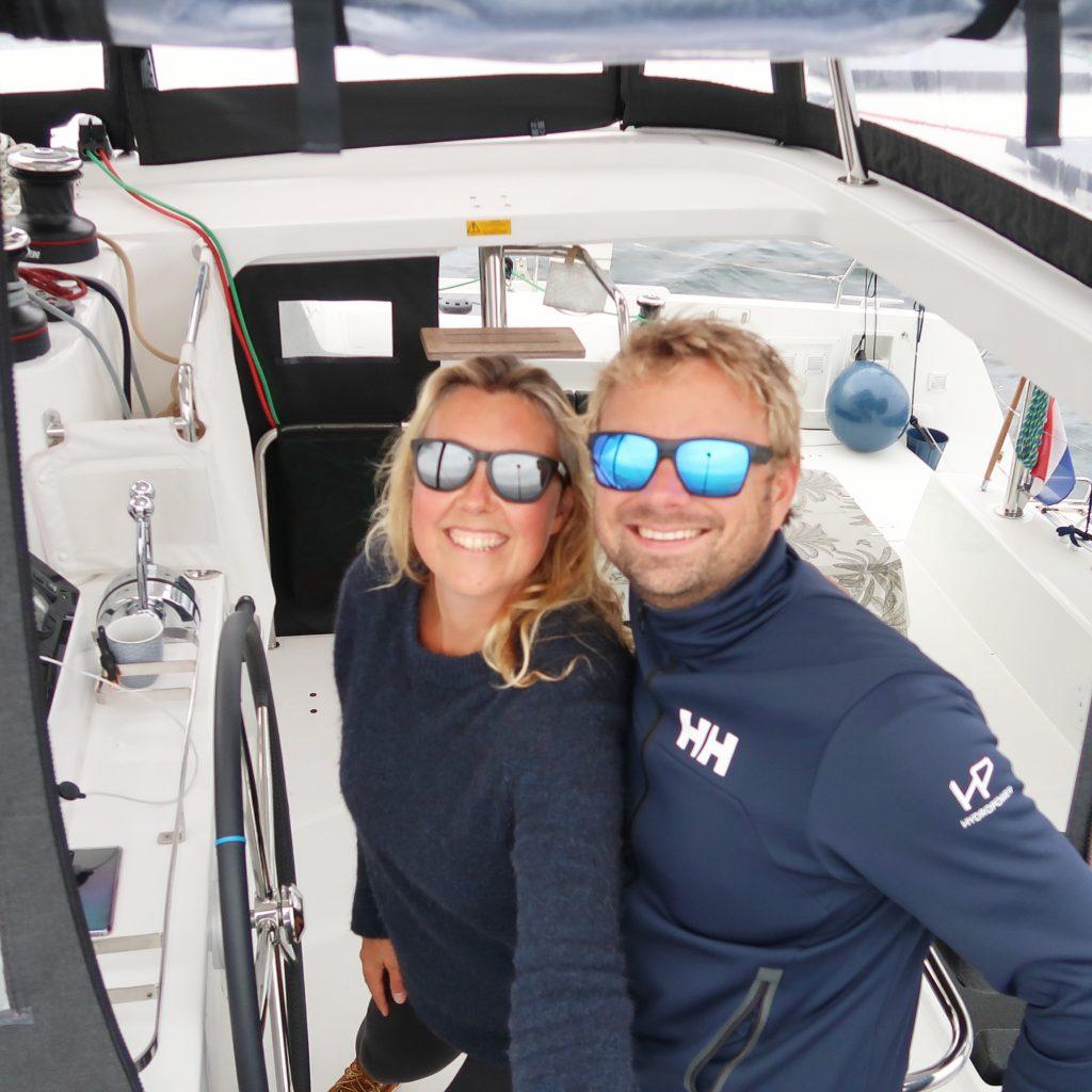 Fleur and Ronald on their Lagoon 42 catamaran