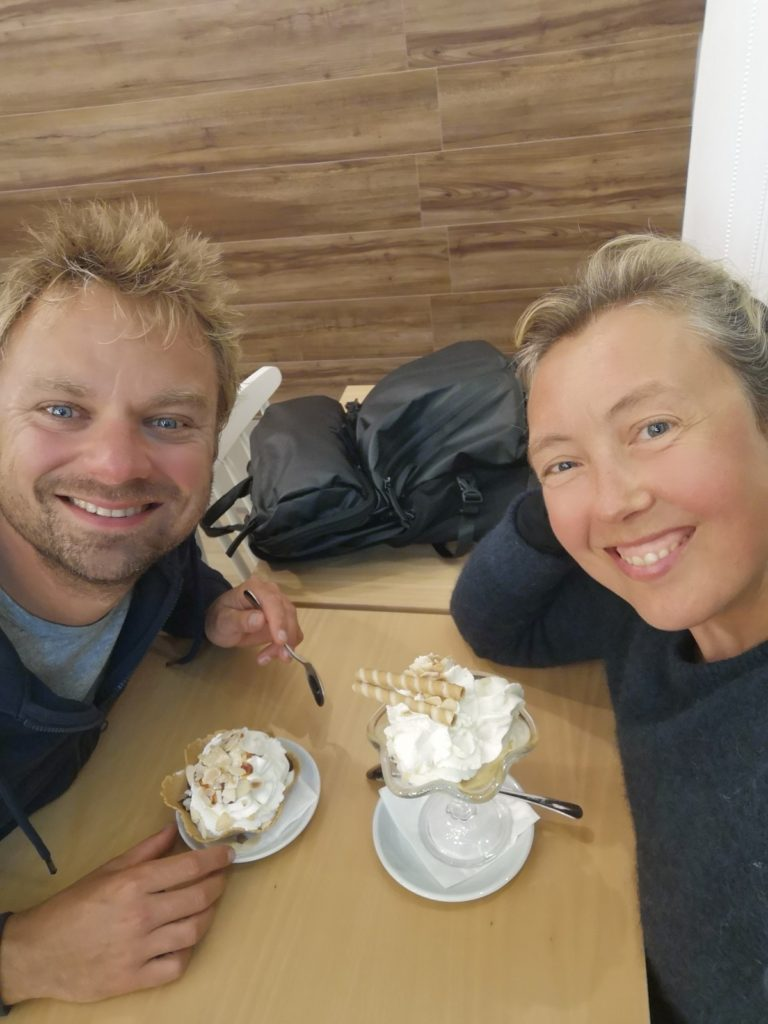 Celebrating arrival in Cascais (Portugal) with icecream!