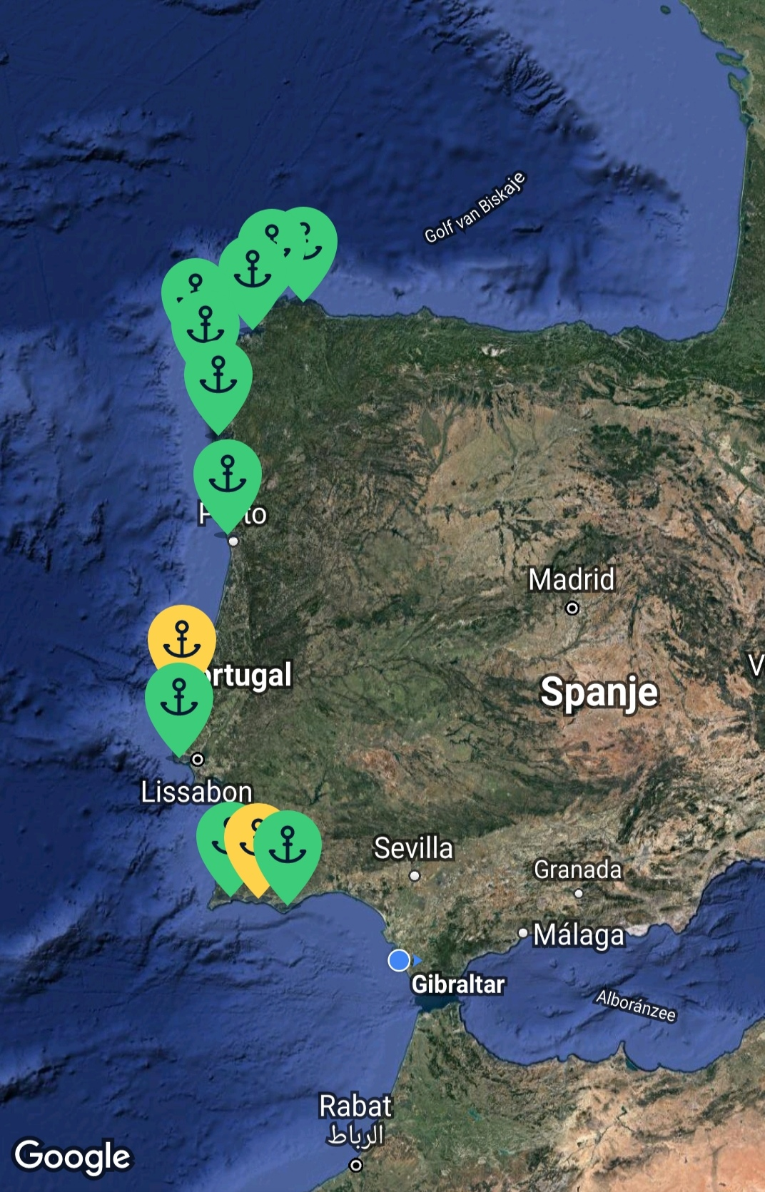 Our route (and anchorages) for the month of August 2020