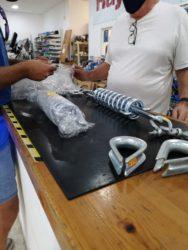 Buying mooring springs at the local chandlery in Almerimar (Spain)