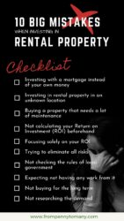 Ten Big mistakes when investing in rental property (checklist)