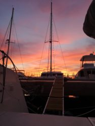 Beautiful pink skies in the marina of Almerimar