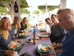 Lunch with our friends from Sailing Makani and A Nautical Change at Christmas in Spain