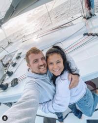 Ceylan & Alfie on their catamaran Coco