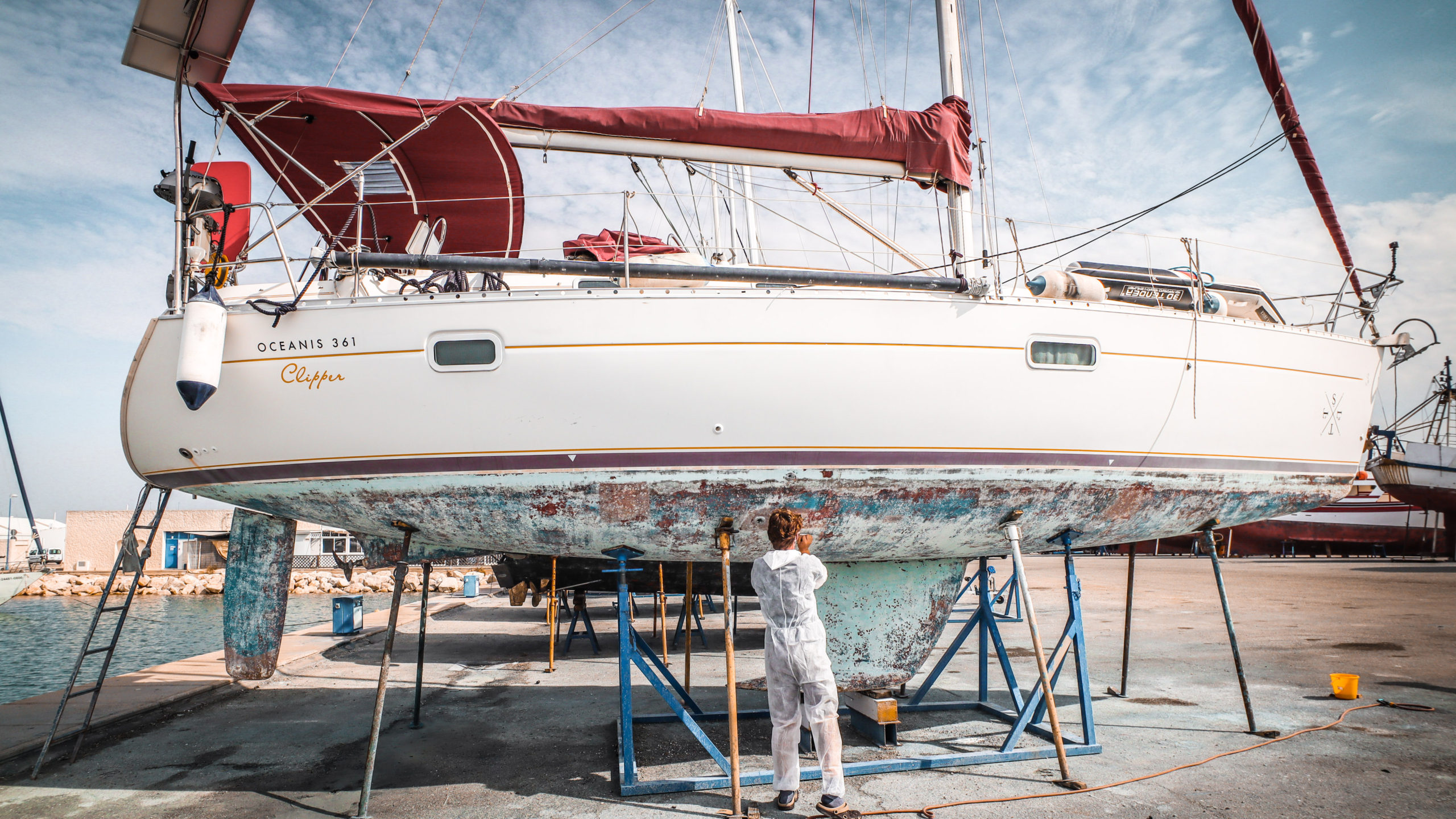 Working on the boat in Spain last year