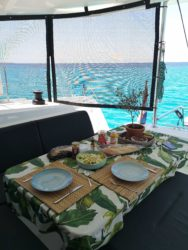 Eating on the boat with a blue view