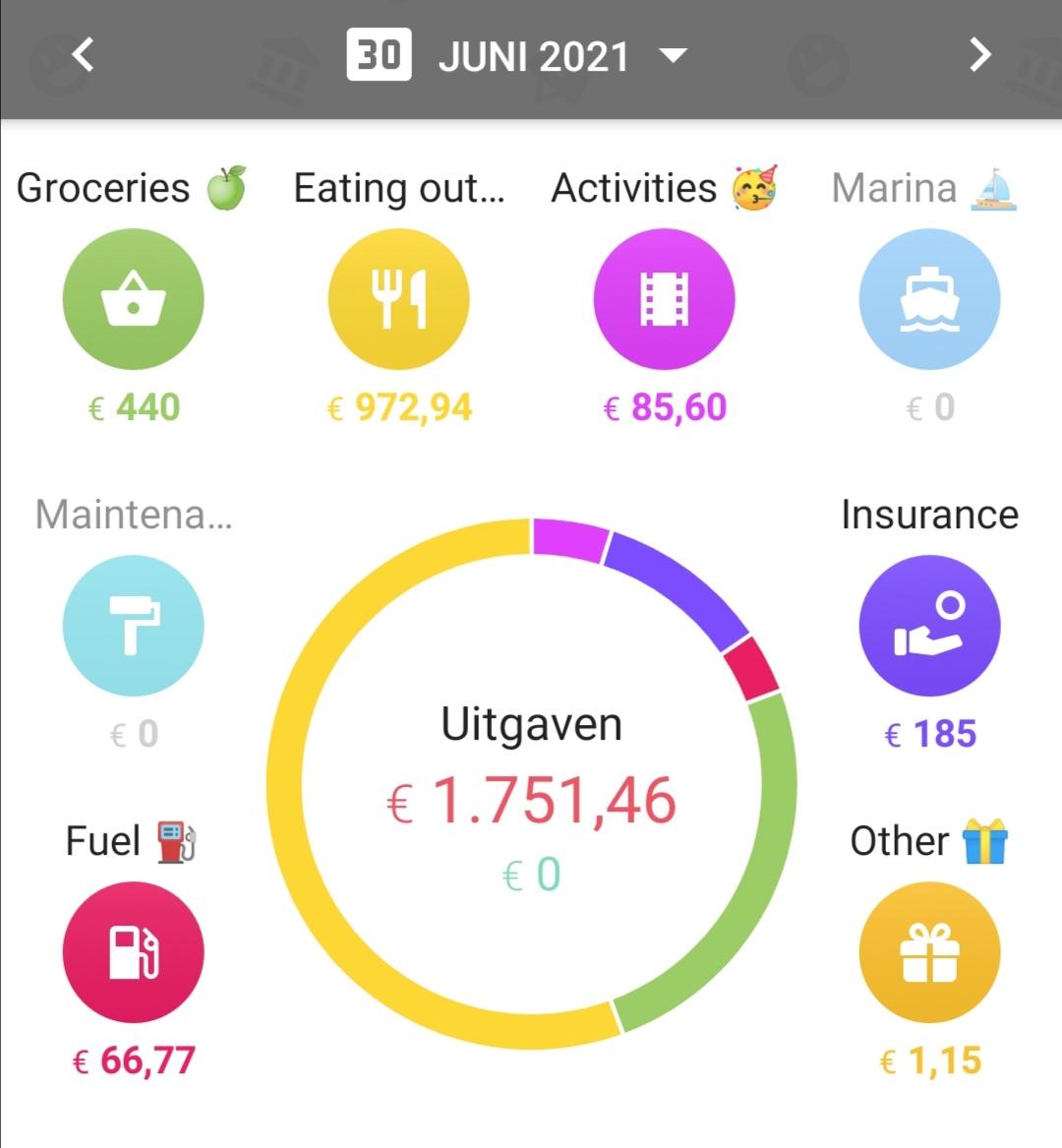 Screenshot monthly expenses June